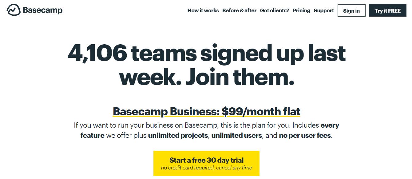 Basecamp pricing model