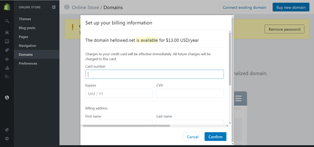 how to delete a domain in shopify