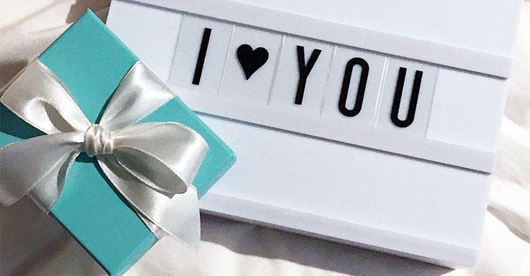 "present and ""I love you"" sign"