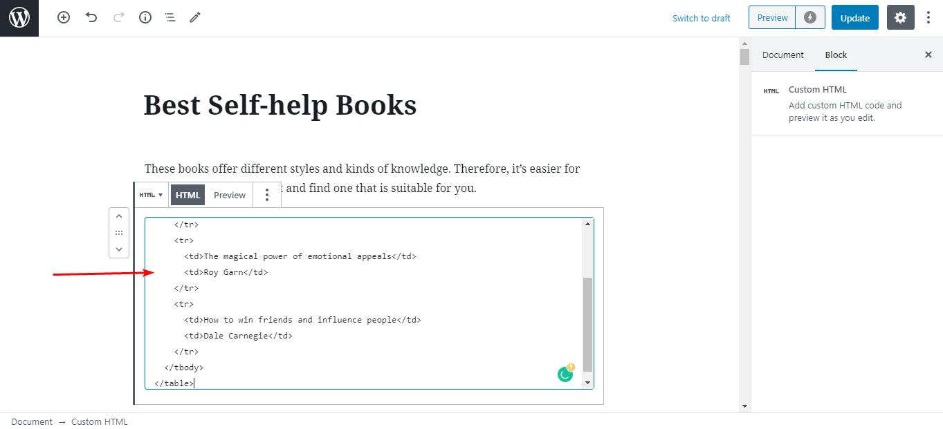 chèn đoạn code HTML vào block Gutenberg vừa chọn.