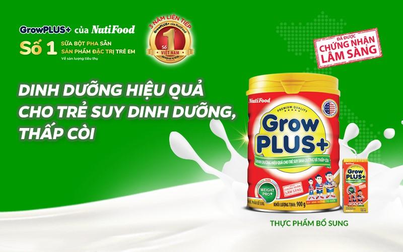 Sữa bột Grow Plus+ đỏ dinh dưỡng hiệu quả cho trẻ thấp còi