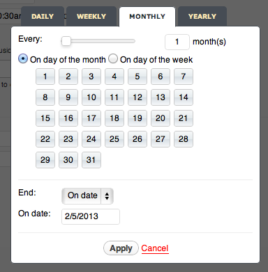 creating recurring events timely
