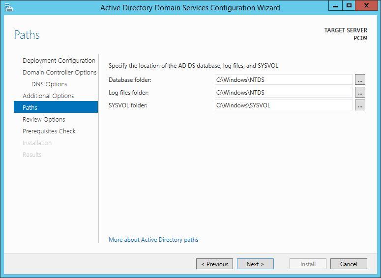 MCSA 2012 - Cài đặt Domain Controller - thư mục lưu trữ database active directory