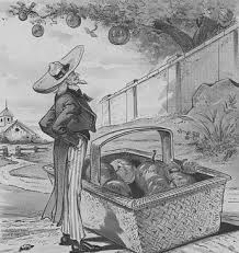 Image result for 1897 drawing shows Uncle Sam waiting for Cuba, Hawaii, Canada, and central America to fall. Florida, Louisiana, Texas, California, and Alaska are already in the basket.