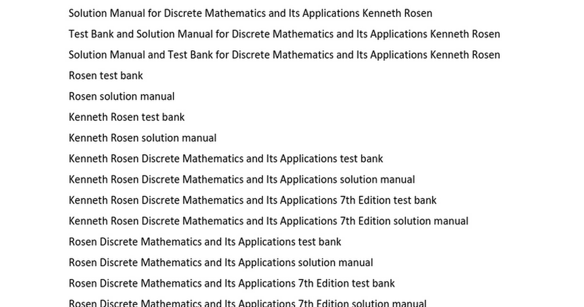 Discrete Mathematics And Its Applications 7th Edition Solutions