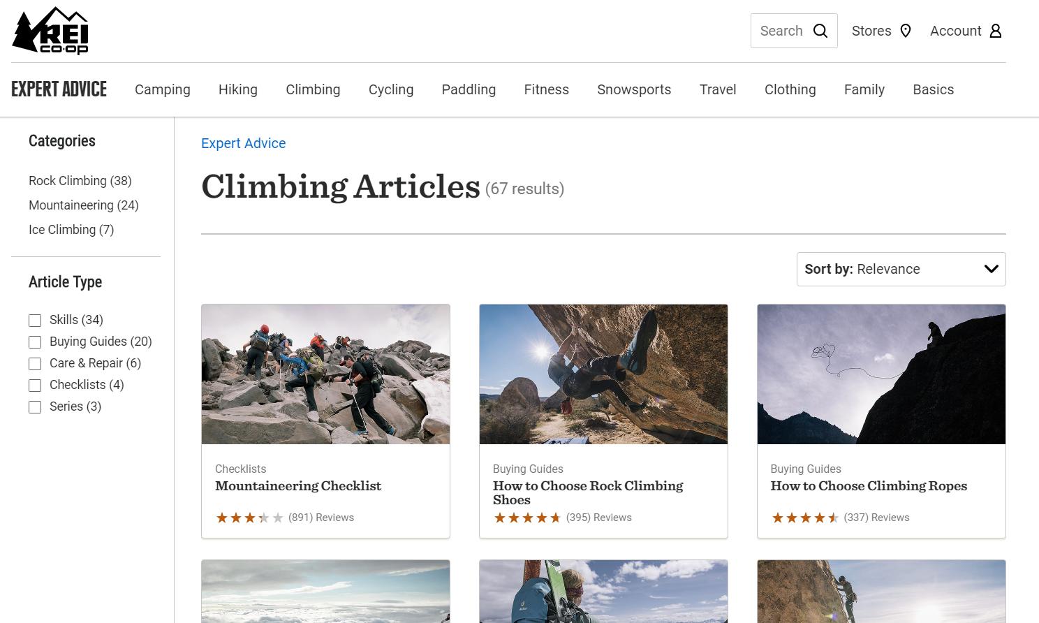 rei climbing articles