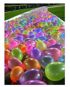 Water balloon covered water slide