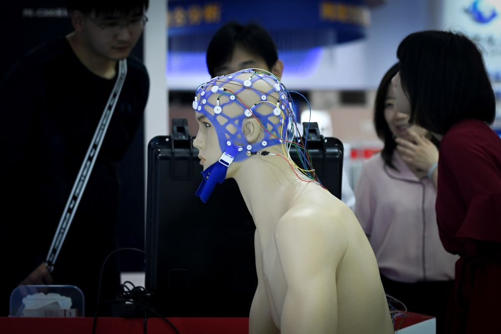 A device marketed as a lie detector is seen on display at the Chinese Defense Information Equipment and Technology exhibition in Beijing on June 18, 2019. The CCP's Military-Civil Fusion campaign has led to the entire country being devoted to development of technology to serve the Communist regime.