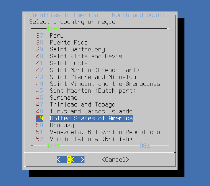 Install FreeBSD - Select Country. Source: nudesystems.com