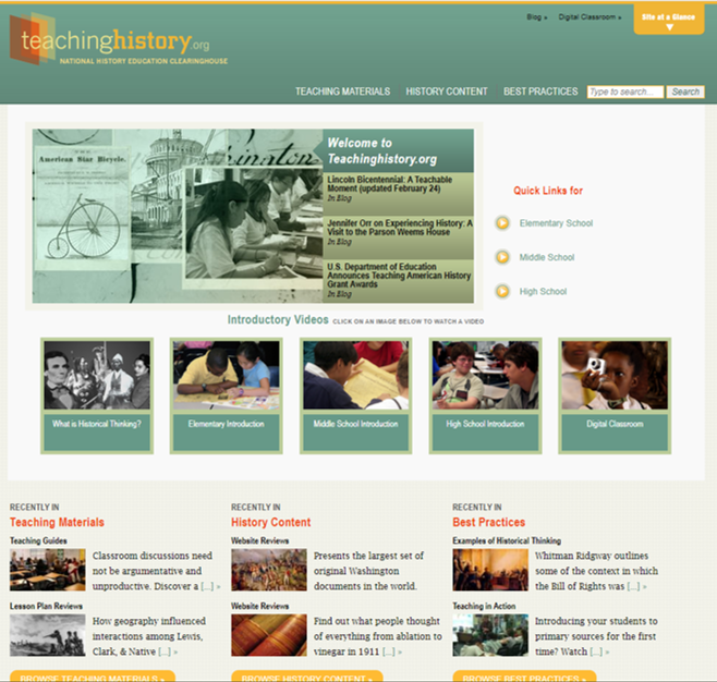 9 Free Lesson Plans for Teachers: Screenshot of teaching history