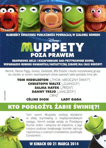 Tył ulotki filmu 'Muppety - Poza Prawem'
