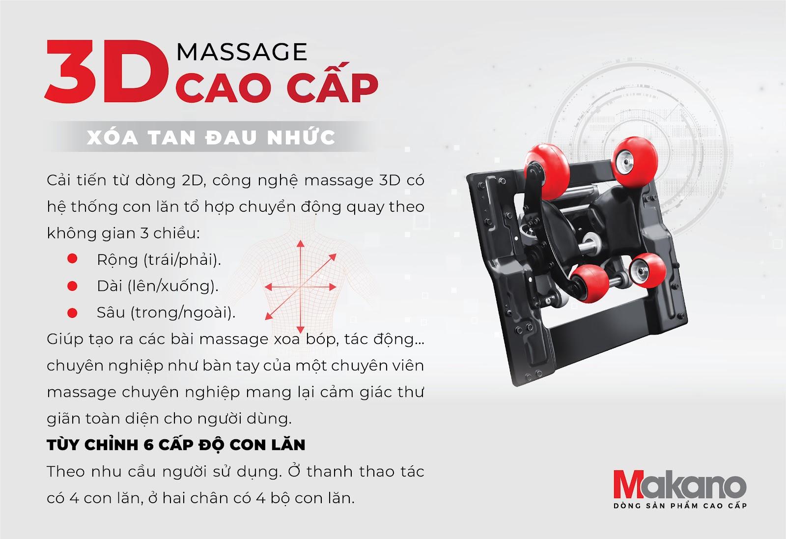 Ghế massage sử dụng con lăn 3D tác động rộng , dài, sâu