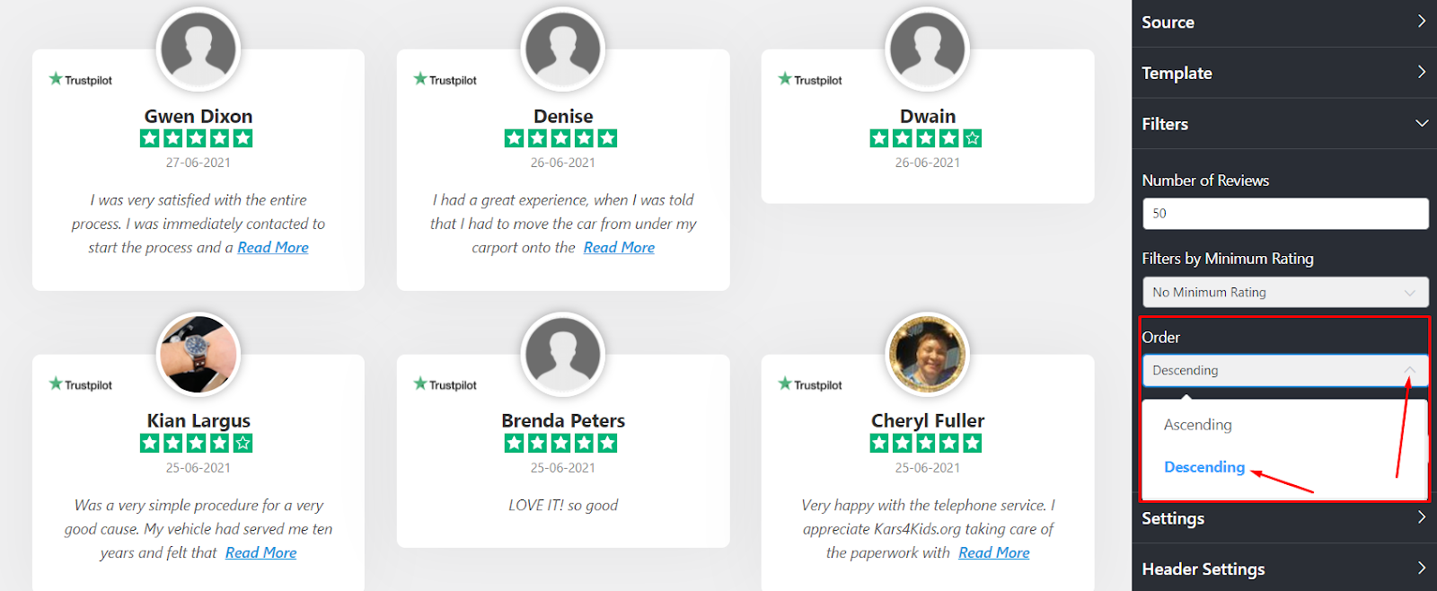Trustpilot reviews order