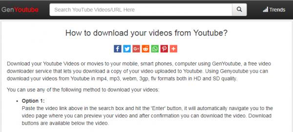 قم بتنزيل مقاطع فيديو YouTube من خلال موقع GenYoutube