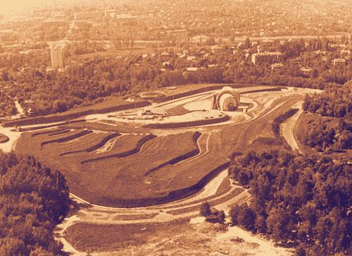 Парк Памяти на Байковой горе, вид сверху