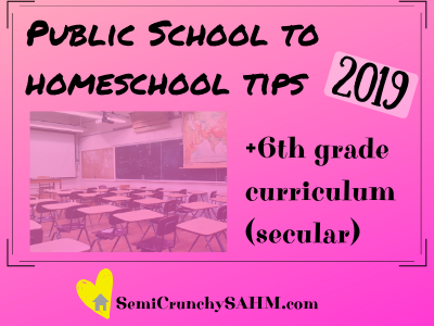 public school to 6th grade secular homeschool graphic