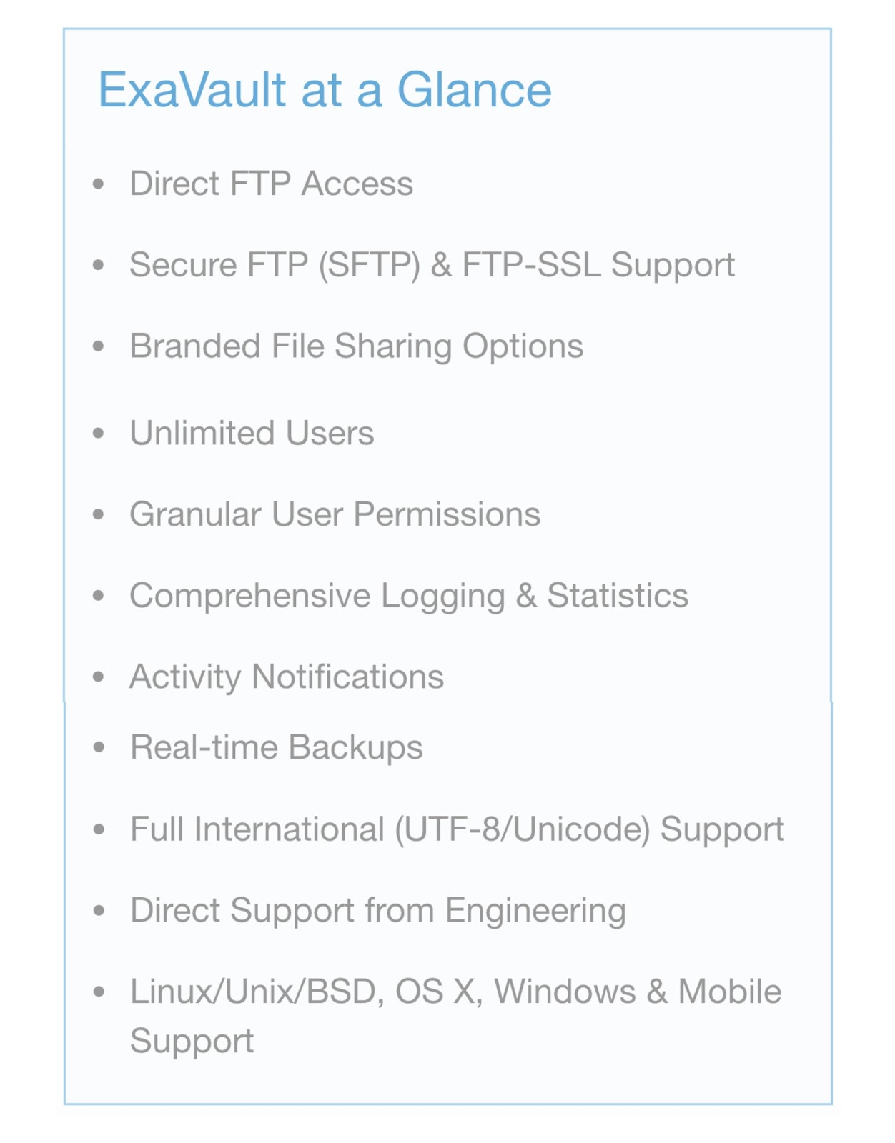List of features included with ExaVault FTP service.