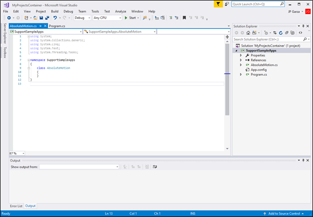 Create a Visual Studio Project - RSI