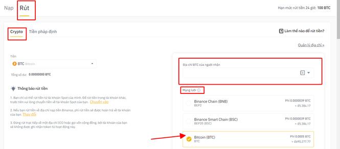 Rút tiền Crypto để lấy BTC từ Biance về Bittrex