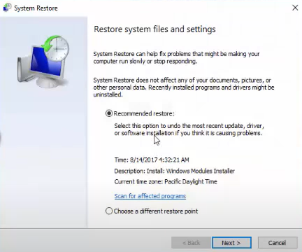"""select the date and time when everything was working fine with your PC. Then, click on """"Next."""""""
