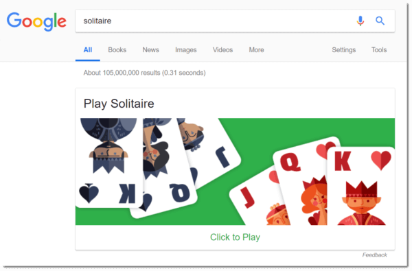 Google Easter egg: Solitaire