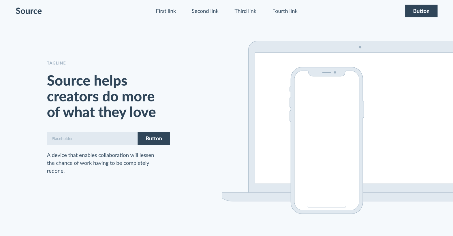A screenshot of the Source Wireframes Kit landing page.