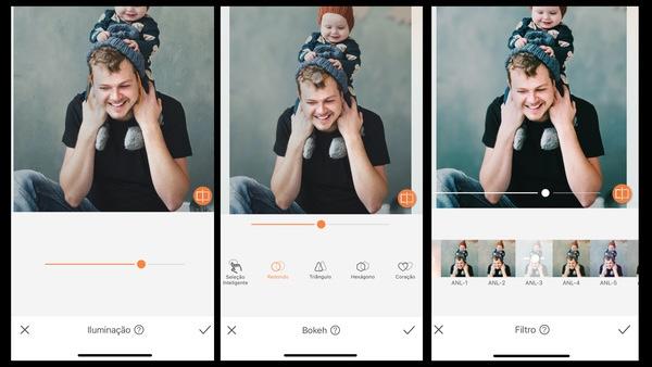 Tutorial de edição de uma foto de pai com o seu bebê nos ombros usando as ferramentas do AirBrush