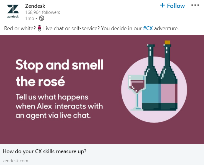 LinkedIn post from Zendesk.