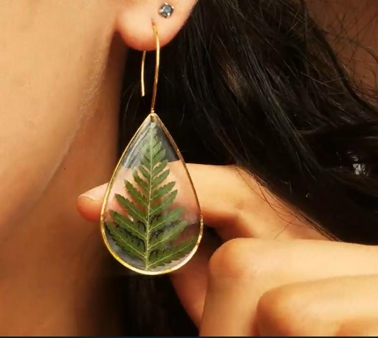 leaf resin earring