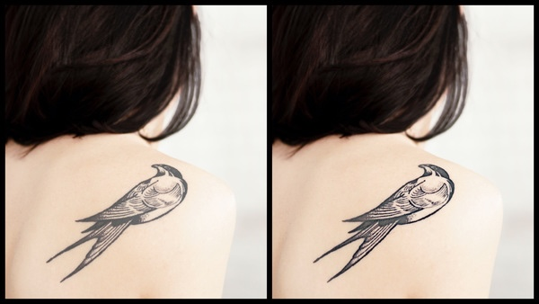 Montagem com 2 fotos da mesma mulher de costas com uma tatuagem de pássaro perto do ombro mostrando o antes e depois da edição.