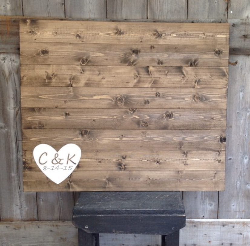wooden sign wedding guest book