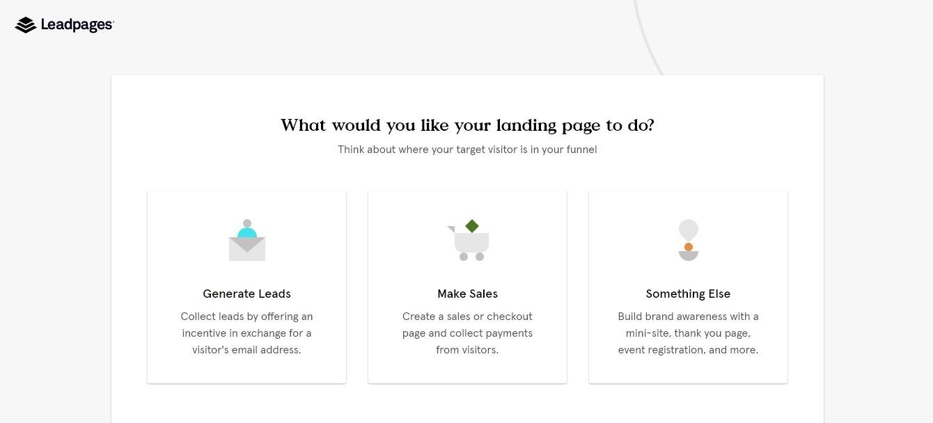 leadpages landing page goals