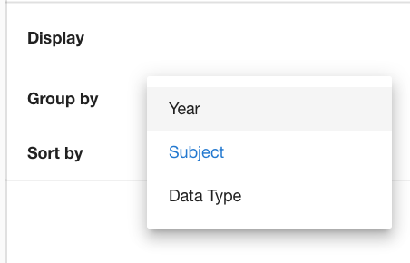 screenshot of navigation option in Parent Portal to group data by Year, Subject or Data Type