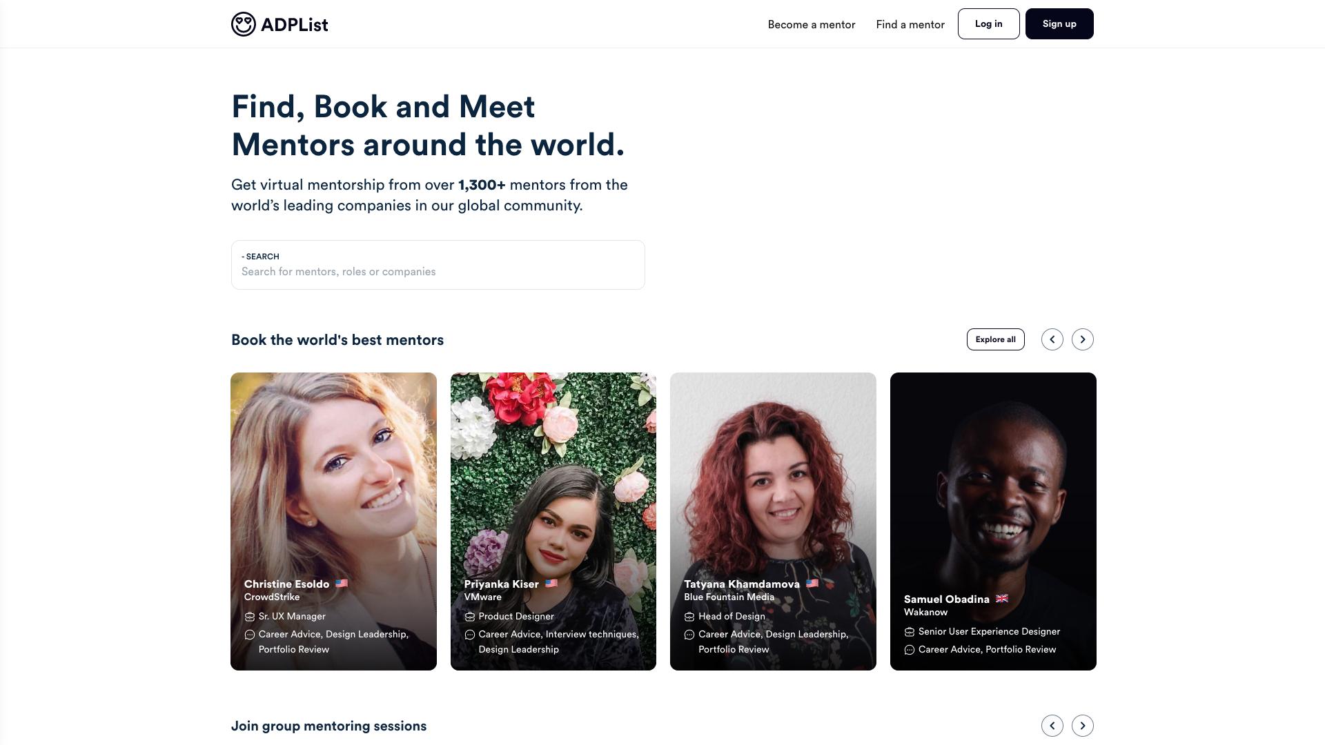 Homepage of adplist.org