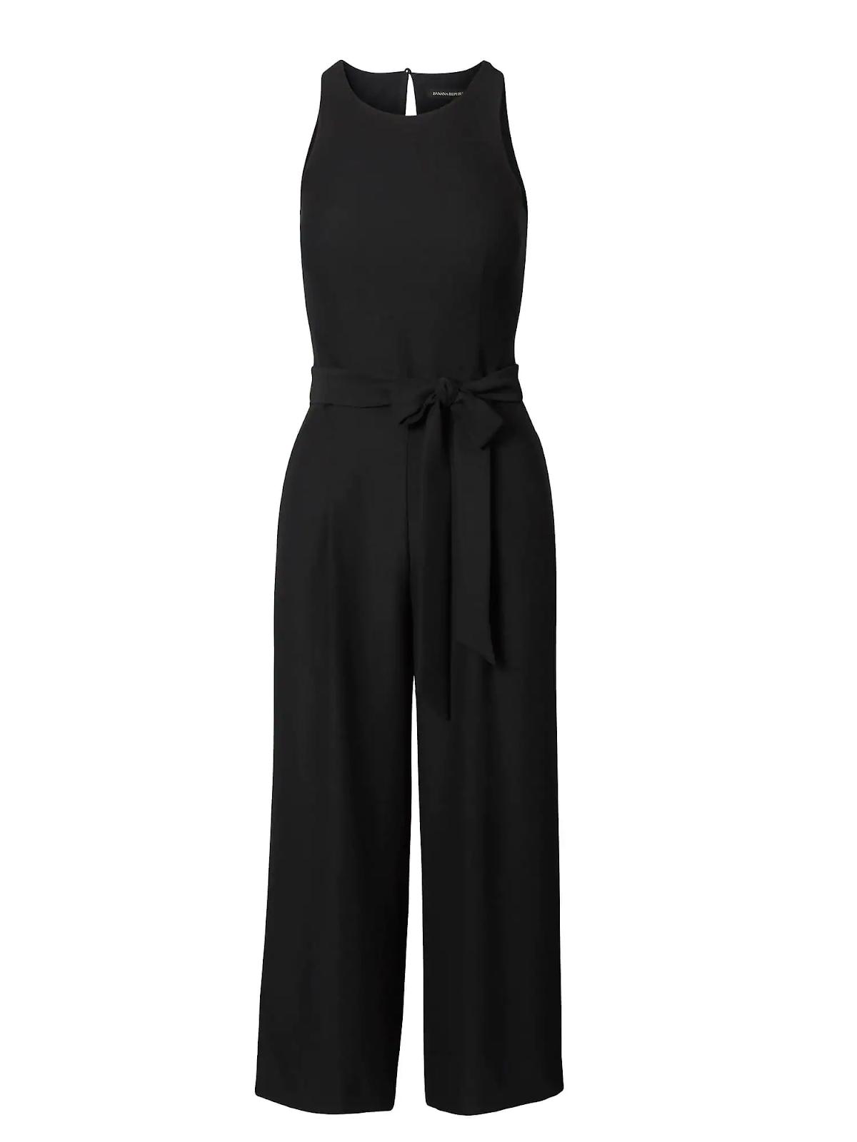 Slimming Black Sleevless Jumpsuit - Banana Republic