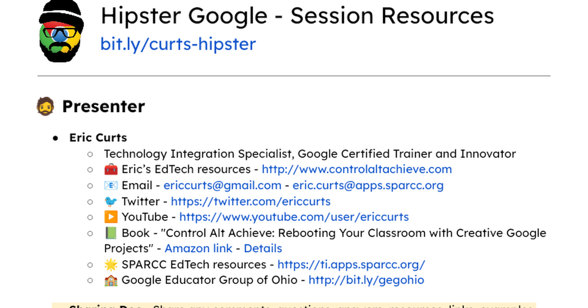 Hipster Google - Session Resources - Google Docs
