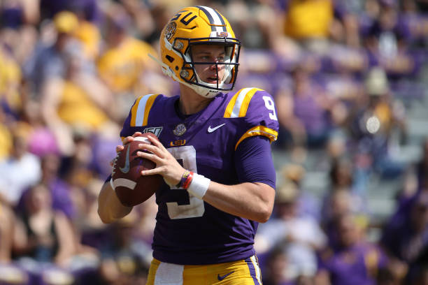 Quarterback Joe Burrow of the LSU Tigers looks to throw ball against the Utah State Aggiesat Tiger Stadium on October 05 2019 in Baton Rouge Louisiana