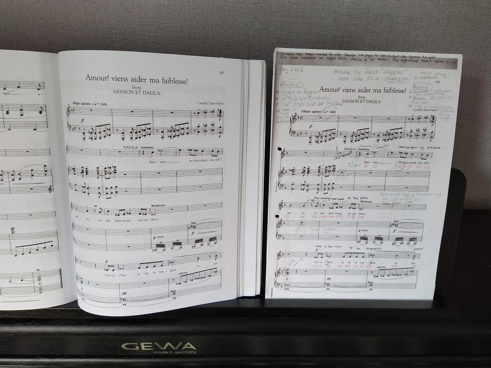 Two copies of the same piece of sheet music, one covered in notes and writing.