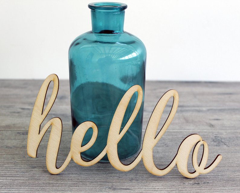hello wood cut sign craft blank