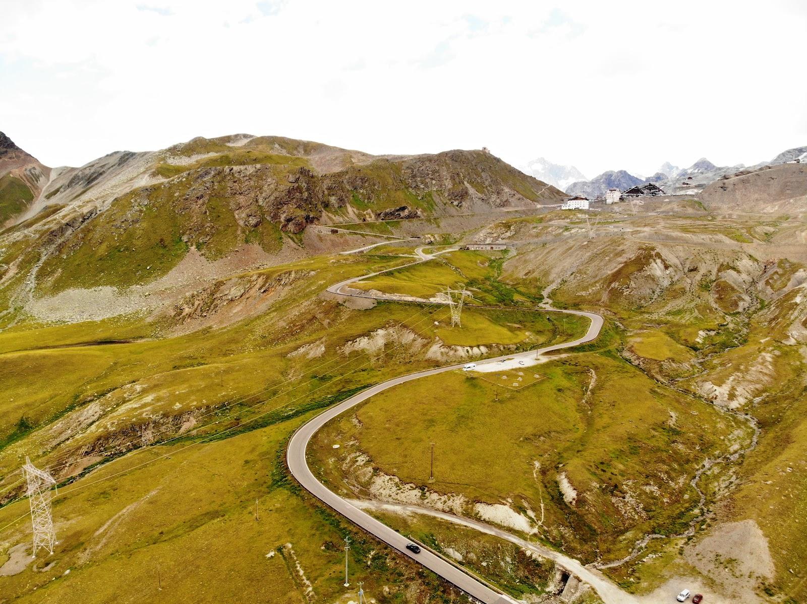 Cycling Passo dello Stelvio - aerial drone photo of pass