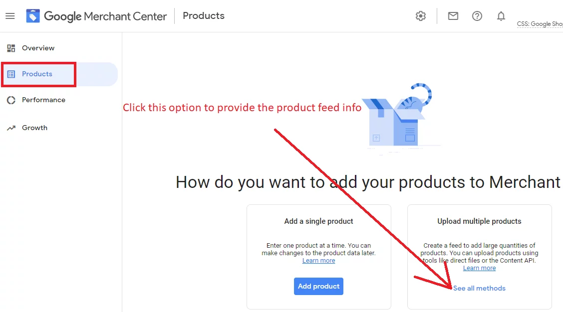 Click on upload multiple product options