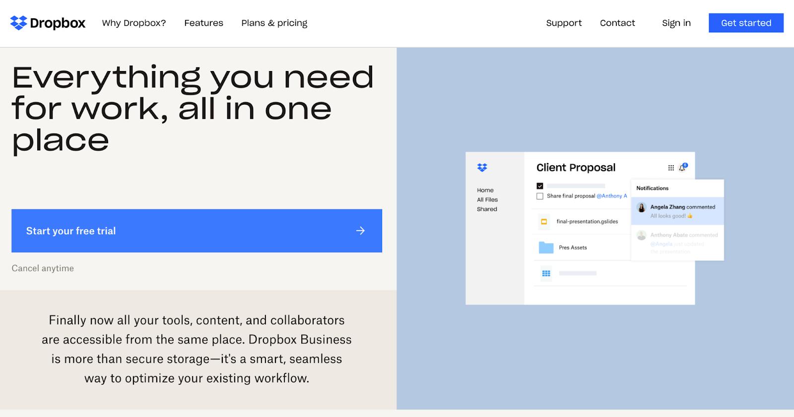 Dropbox website homepage
