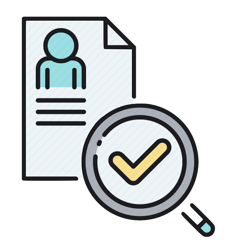 Image of a person's background check file with a magnifying glass and check mark in the glass.