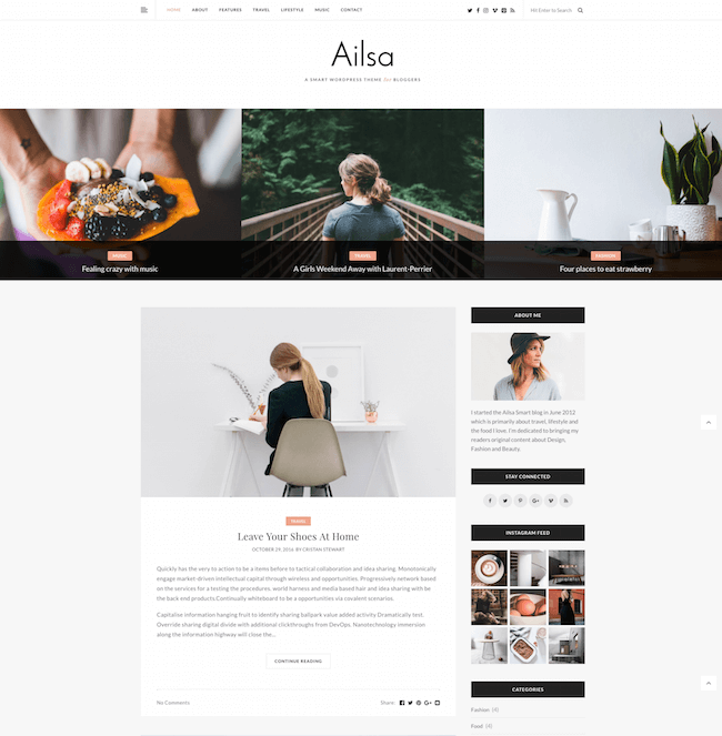 Best WordPress Instagram Theme Alisa