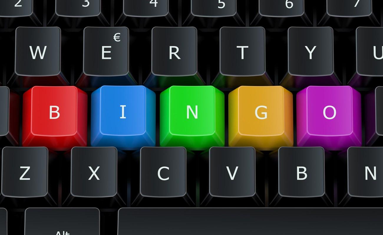 Bingo as keys in the keyboard in rainbow colours