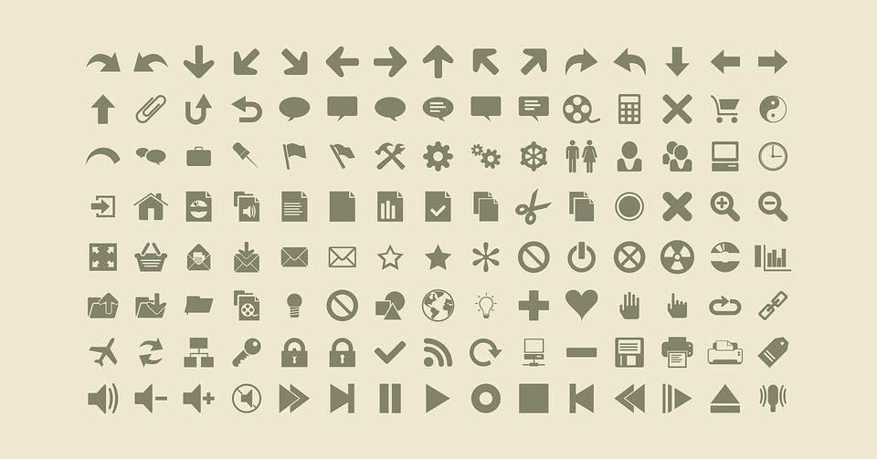 A group of icons designed in a flat style
