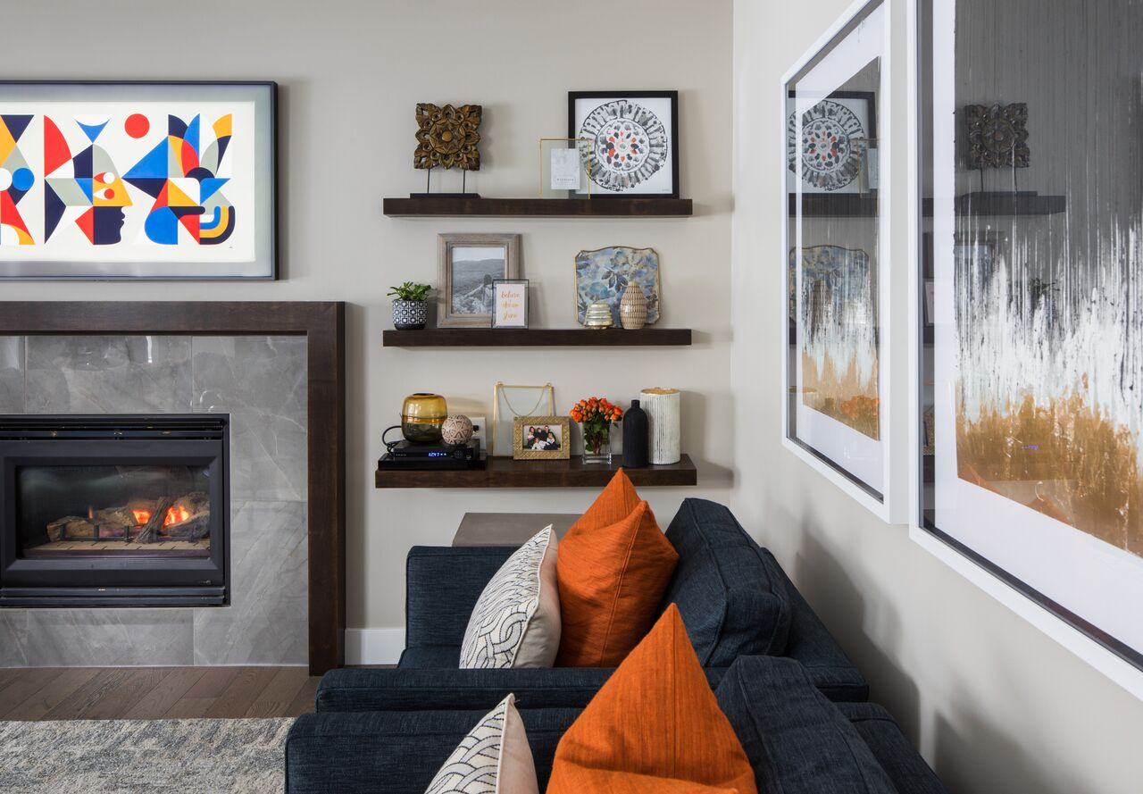 Living room design reveal: Calgary interior designer transforms a family home renovation into a colorful, contemporary space.