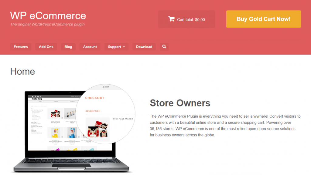 página inicial do wp ecommerce