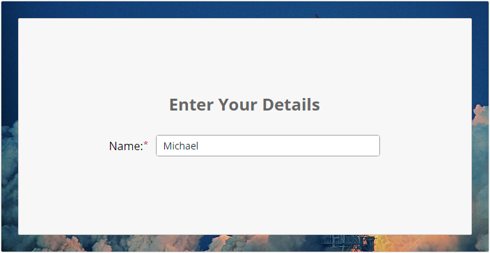 Enter Your Details: Name