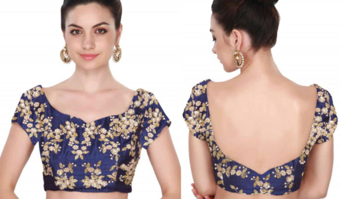 Sweetheart neck blouse design